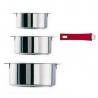 Lot de 3 casseroles 16 18 20 CM Mutine amovible inox CRISTEL S3CQ