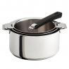 Lot de 3 casseroles 16 18 20 CM Mutine amovible Noir inox CRISTEL S3CQ