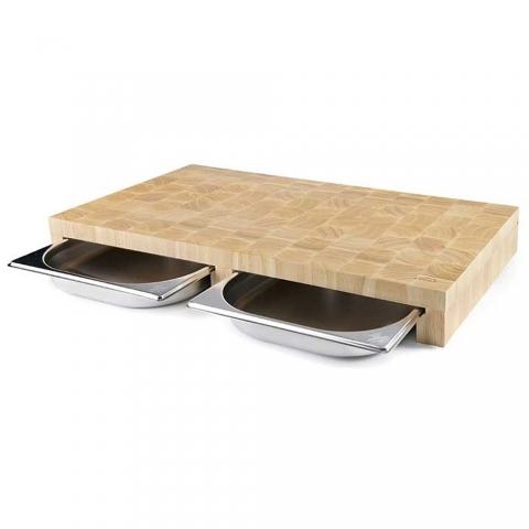 Planche à découper en bois 34 CM 2 bacs LACOR 60591