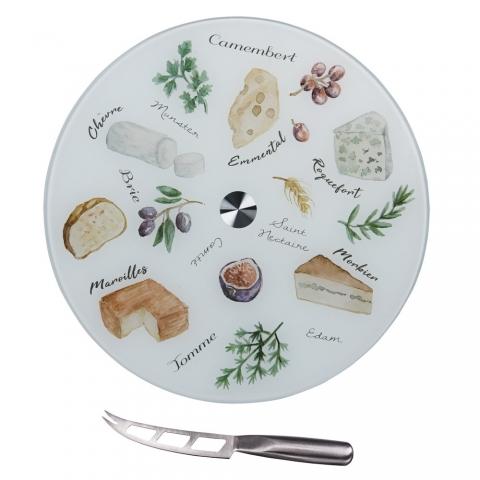 Coffret à fromage, planche tournante avec couteau