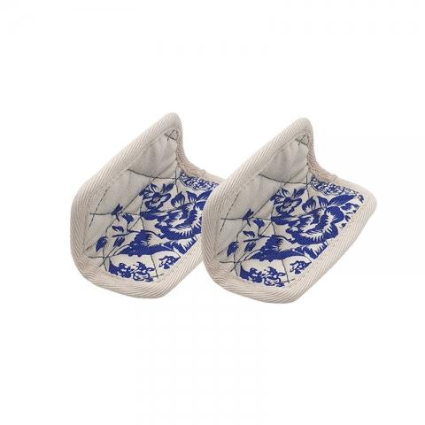 Paire de maniques fleurs bleues Cocotte COOKUT MJCM06