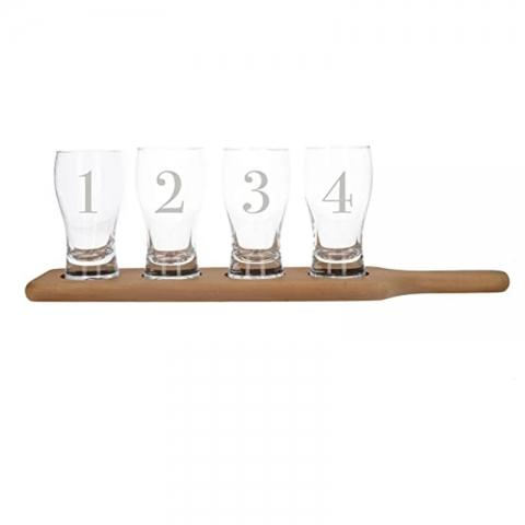 Set 4 verres à bière + planche en bois EARLSTREE&CO