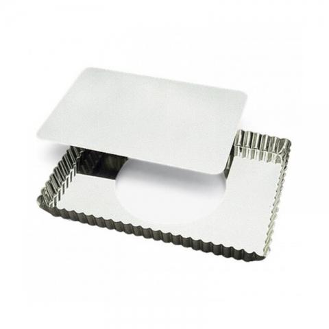 Moule à tarte rectangulaire fond amovible 29 CM fer blanc GOBEL 125810