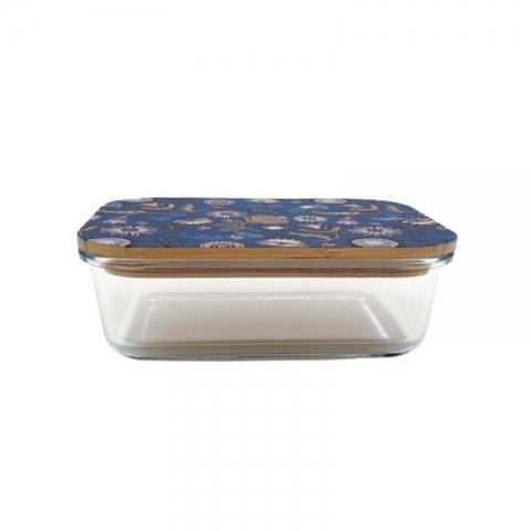 Boîte en verre et bambou 1 L fleur COOKUT BC1G