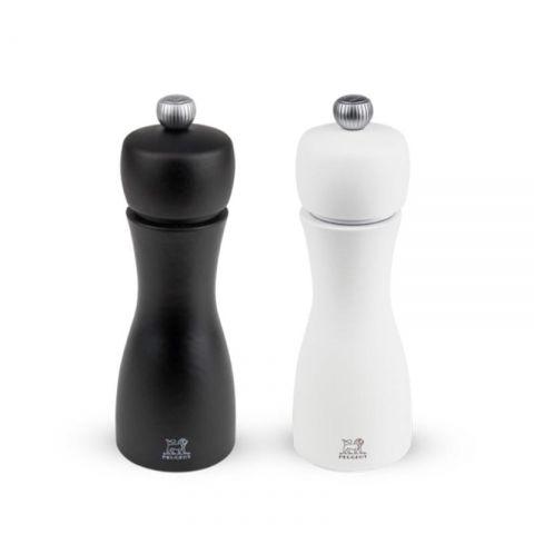 Duo de moulin à poivre et à sel Tahiti Noir & Blanc 15cm PEUGOT