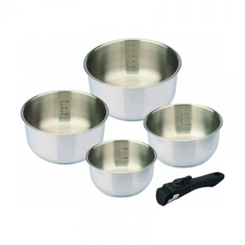 Série de 4 casseroles inox Baumalu + poignée amovible