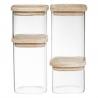 Boîtes de rangement en verre et bois x4 5FIVE