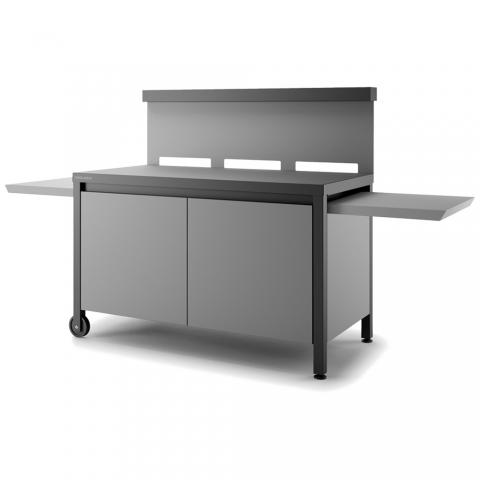 Table crédence acier noir et gris fermée pour planchas TRCAFNG Forge Adour