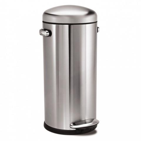Poubelle rétro à pédales en inox 30 litres SIMPLEHUMAN