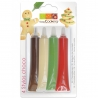 4 stylos chocolat Rouge Blanc Vert Marron ScrapCooking 7060
